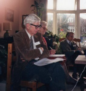 Rudi Peierls and Lorna Arnold on a teleconference with Los Alamos