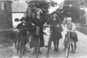 Rainbow children off to school. From left: Ruth, Hilary, Rosemary, Geoffrey