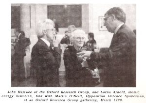 Lorna Arnold at ORG meeting, 1990