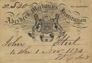 Admission to Aberdeen Mechanics Institution, 1824, for John Steele